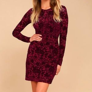 Lulus Corset Burgundy Velvet Print Dress